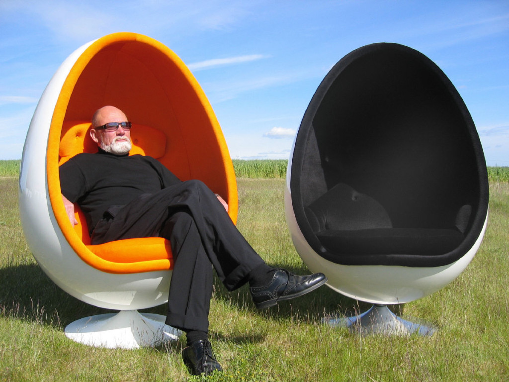 Designer Henrik Thor-Larsen sits in his Egg Chair
